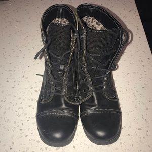 Black Rhinestone G by Guess Combat Moto Boots